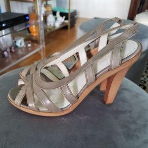 Jil Sandler taupe wood platform sandals